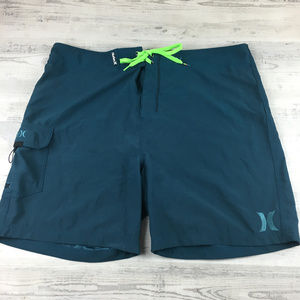 HURLEY Mens Swimsuit Trunks Teal Blue Unlined 38